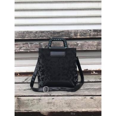 Елегантна дамска чанта от еко кожа в комбинация от черен цвят и камуфлаж-1735