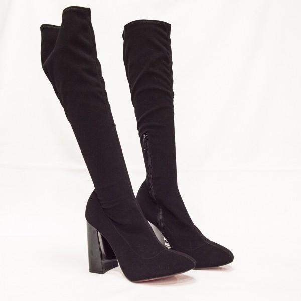 Дамски елегантни ботуши от стреч  с ток - 254