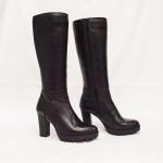 Дамски ботуши от естествена кожа с ток черни - 250