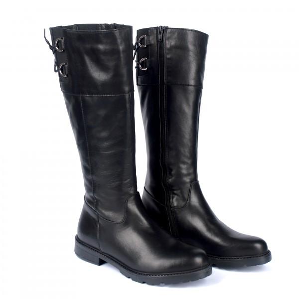 Дамски ботуши от естествена кожа черни - 304