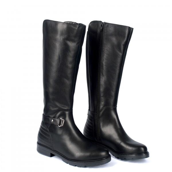 Дамски ботуши от естествена кожа черни - 303