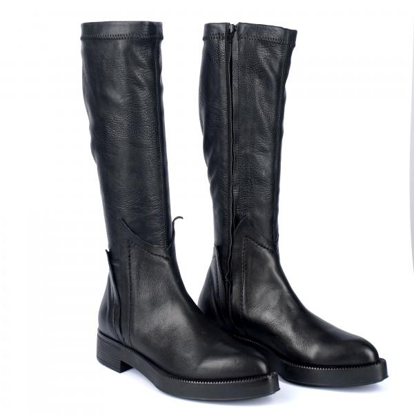Дамски ботуши от естествена кожа и стреч черни - 286
