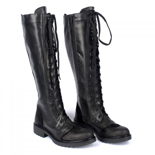 Дамски ботуши от естествена кожа с връзки черни