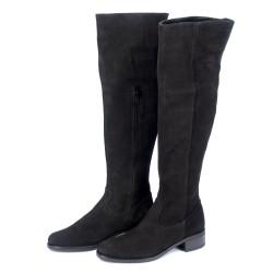 Дамски чизми от естествен велур черни - 309