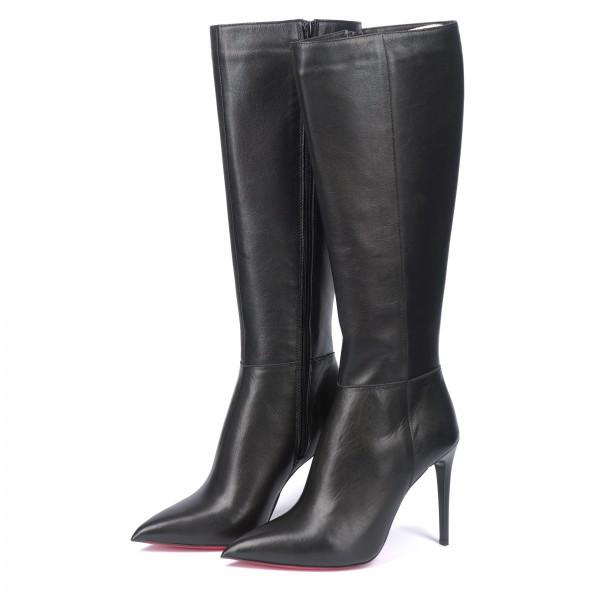 Дамски елегантни ботуши от естествена кожа с висок ток черни - 298