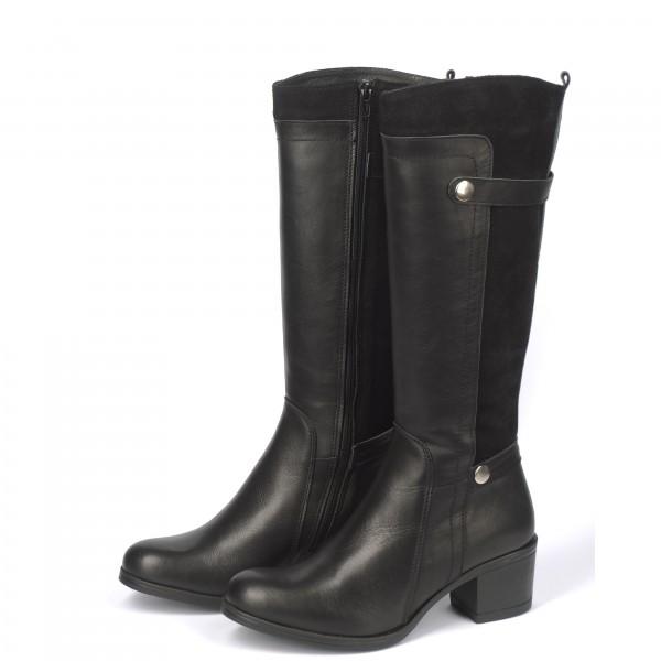 Дамски ботуши от естествена кожа и велур с ток черни - 271