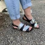 Дамски ежедневни сандали от естествена кожа черни със сребро-1264