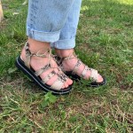 Дамски сандали от естествена кожа с връзки в бежова змия-1310