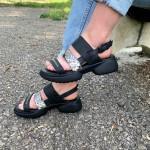 Спортни сандали от естествена кожа с змийски мотив с ефектно закопчаване-1326