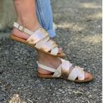 Дамски сандали от естетствена кожа в комбинация розово злато и бежово-1255