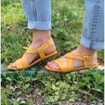 Дамски удобни сандали от естествена кожа на равно ходило в цвят горчица-1245