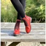 Червени дамски боти от естествена кожа с удобно грайферно ходило-1360