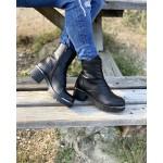 Дамски боти от естествена кожа в черен цвят с широк ток и грайферно ходило-1365