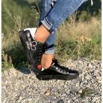 Дамски кецове от естествена кожa черни-576