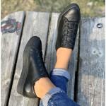 Спортно елегантни обувки с изчистена визия от естествена кожа-1369