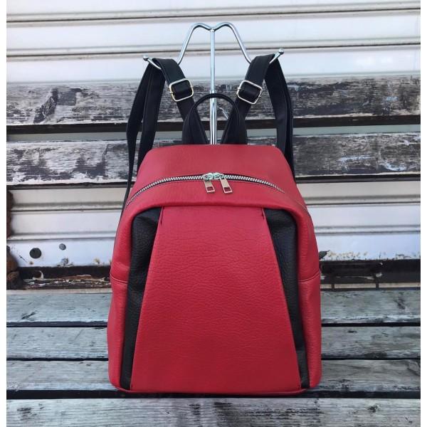 Ежедневна дамска раница в комбинация черно и червено от еко кожа-943