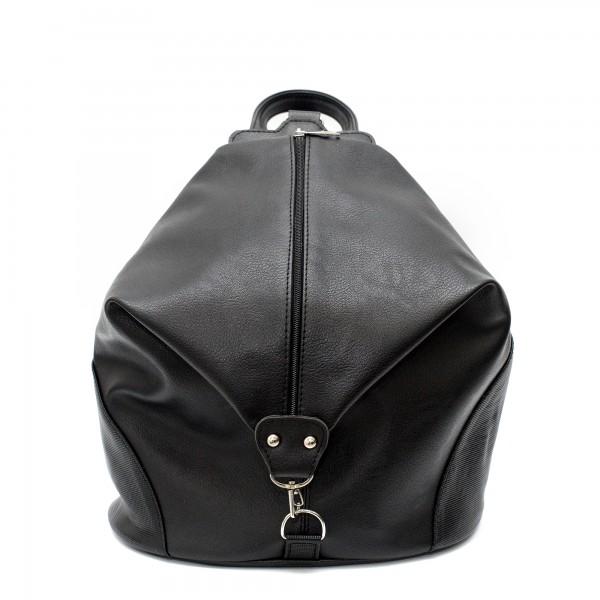 Алтернативна дамска раница висококачествена еко кожа в черен цвят и ефектно закопчаване-1-82