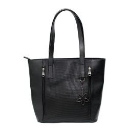 Стилна модерна дамска чанта от еко кожа в черно с модерен аксесоар-94