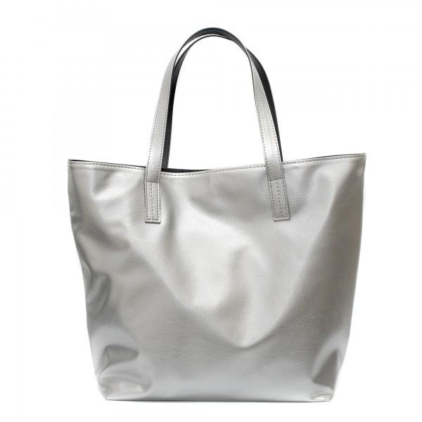 Сиво-черна дамска чанта от еко кожа с изчистен дизайн-1529