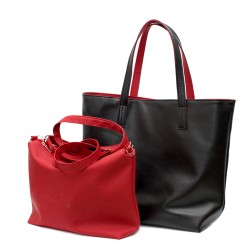 Стилна дамска чанта в комбинация черно и червено от еко кожа-1-1529