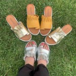 Дамски чехли от естествена кожа в сребристо-1266