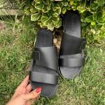 Черни дамски чехли от естествена кожа с изчистен дизайн-1271