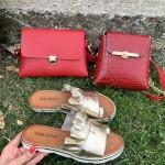 Класическа малка дамска чанта от еко кожа в червен цвят-1158червено