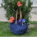 Синя кръгла дамска плетена торба с две основни дръжки-1335-3
