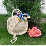 Кокетна сламена дамска чанта в бежов цвят-1333-4