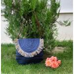 Сламена дамска чанта в син цвят-1344