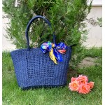 Класичеса сламена дамска торба в син цвят-1329-4