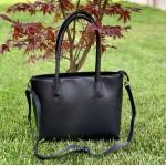 Дамска чанта от еко кожа в черно с дълги дръжки-812