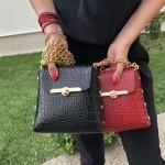 Малка дамска чанта от еко кожа в черен кроко цвят-137
