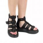 Дамски сандали от естествена кожа с каишки в черен цвят-1714