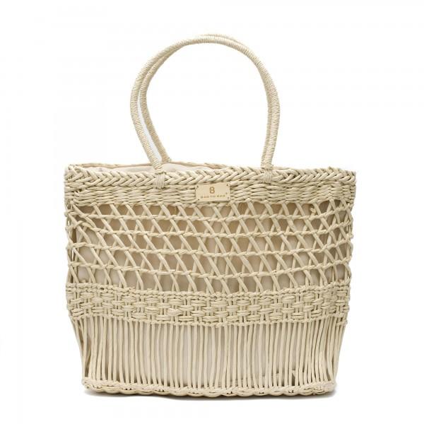 Дамска чанта с интересно плетиво в неутрален цвят-1012
