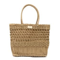 Дамска плетена чанта с интересно плетиво в кафяв цвят-1012