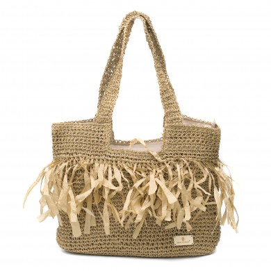 Дамска лятна плетена чанта в кафяв цвят-8279
