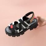 Дамски сандали от естествена кожа в комбинация от бяло, бежово, черно и акцент от червено с велкро лепенки на модерно ходило-1709