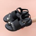 Ежедневни дамски сандали от естествена кожа и ластик в комбинация от черен цвят и платина-1706