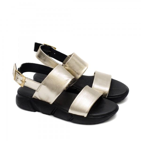 Ежедневни дамски сандали от ефектна естествена кожа в златист цвят-1710