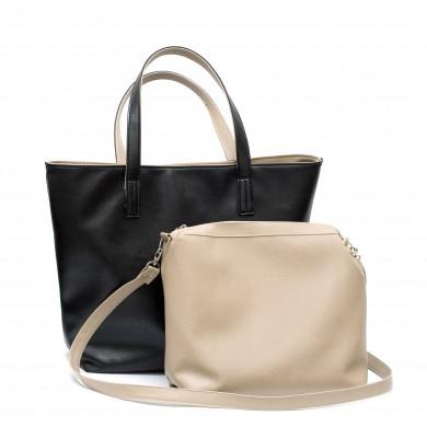 Дамска чанта с две лица от еко кожа в комбинация от черно и бежово и несесер с дълга дръжка-1529