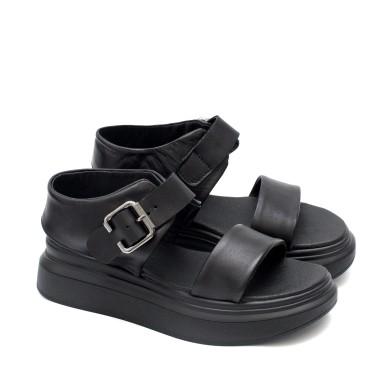 Дамски ежедневни сандали в черен цвят от естествена кожа-1716