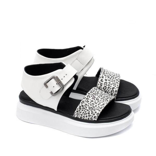 Дамски сандали от естествена кожа в комбинация от леопардов принт в сив нюанс и бял цвят-1719
