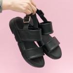Дамски ежедневни сандали от естествена кожа със змийски елементи в черен цвят-1727