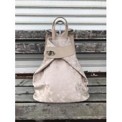 Дамска раница от еко кожа в цвят капучино и перлено-златист цвят-1116