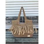 Дамска лятна плетена чанта в кафяв цвят-1744