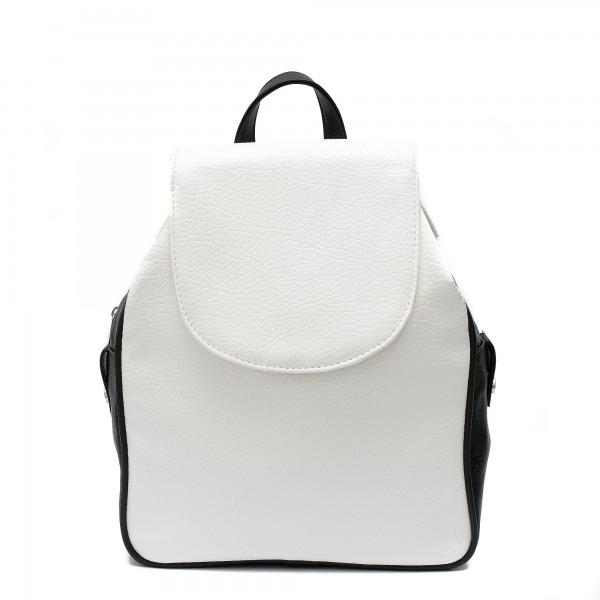 Дамска ежедневна раница от еко кожа в комбинация от бял и черен цвят-319