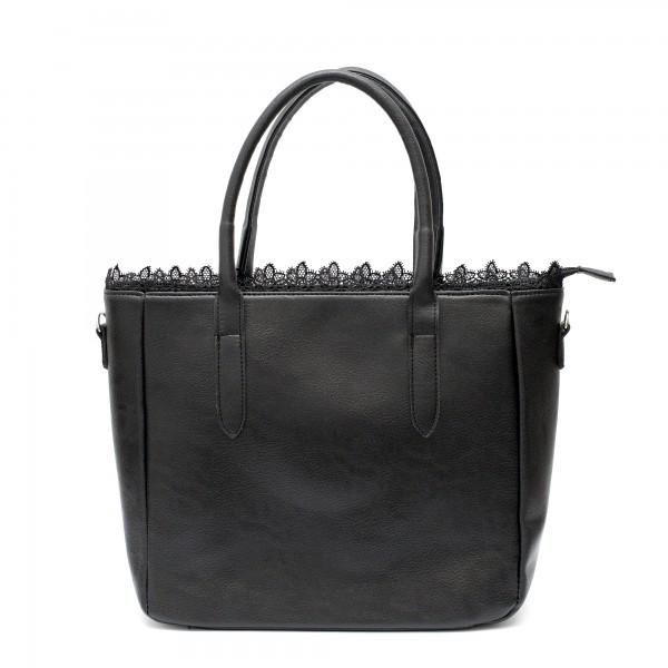 Дамска елегантна чанта с дантела в черен цвят от еко кожа-1741