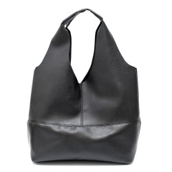 Дамска чанта тип торба в черен цвят с акцент от сребристи ципове от еко кожа-1742