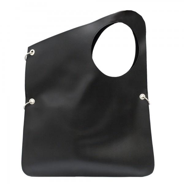 Ефектна дамска чанта от еко кожа в черен цвят-1739